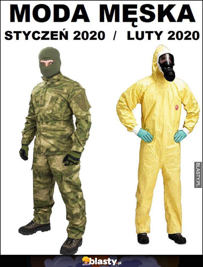 Moda męska: styczeń 2020 vs luty 2020 wojna mundur vs wirus kombinezon ochronny