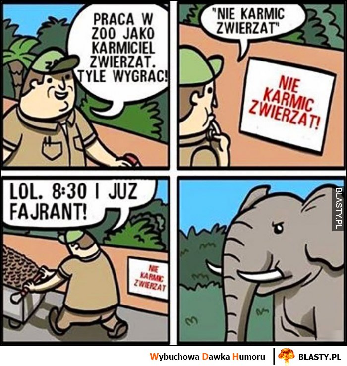 Praca w zoo jako karmiciel zwierząt, napis nie karmić zwierząt, lol 8:30 i już fajrant