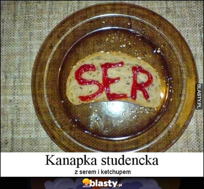 Ser napis keczupem - kanapka studencka z serem i ketchupem