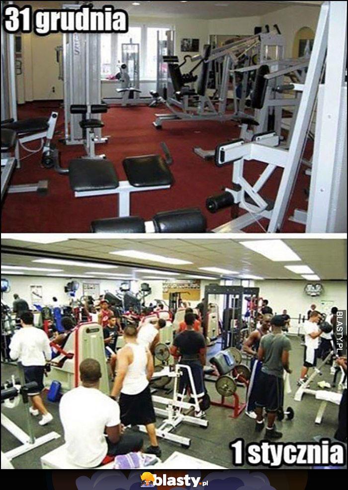 Typowa siłownia 31 grudnia pusto 1 stycznia pełna ludzi
