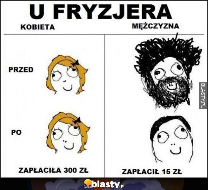 U fryzjera kobieta vs mężczyzna porównanie przez i po - zapłacił 15 zł, ona zapłaciła 300 zł