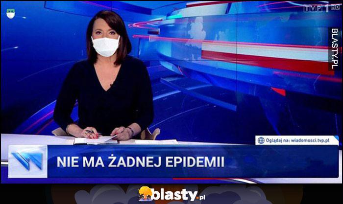 Wiadomości TVP: nie ma żadnej epidemii Holecka w maseczce masce na twarzy