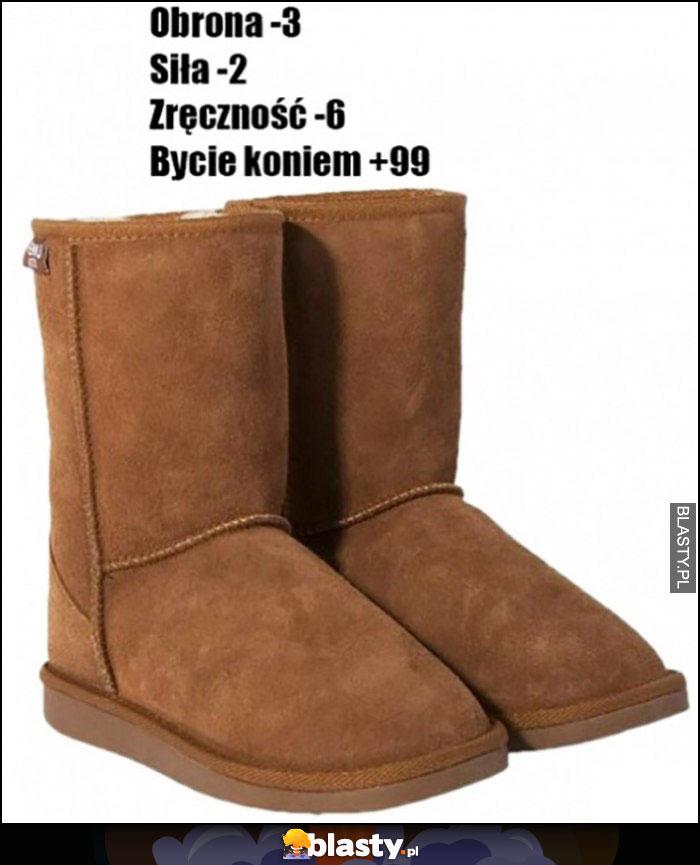 Zimowe buty lasek obrona -3, siła -2, zręczność -6, bycie koniem +99