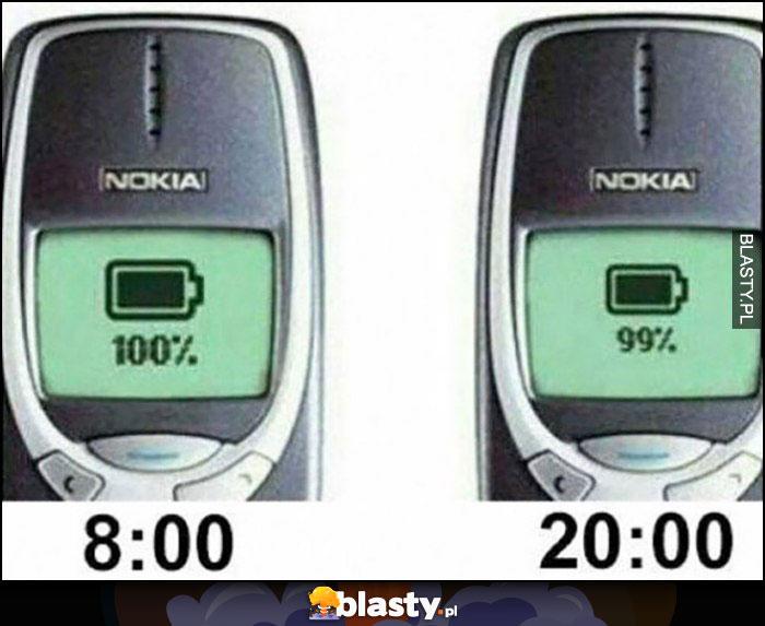 Bateria w starej Nokii 3310 rano 100% wieczorem 99% naładowania Nokia