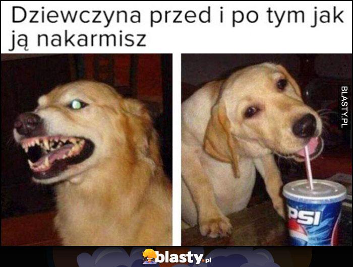 Dziewczyna przed i po tym jak ją nakarmisz pies zły zadowolony