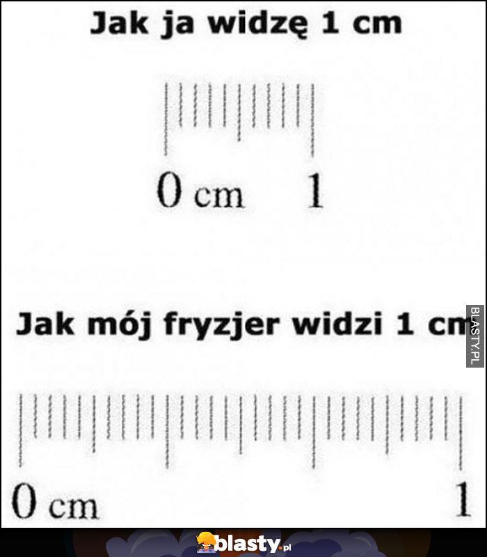 Jak ja widzę 1 centymetr vs jak mój fryzjer widzi 1 cm porównanie skala