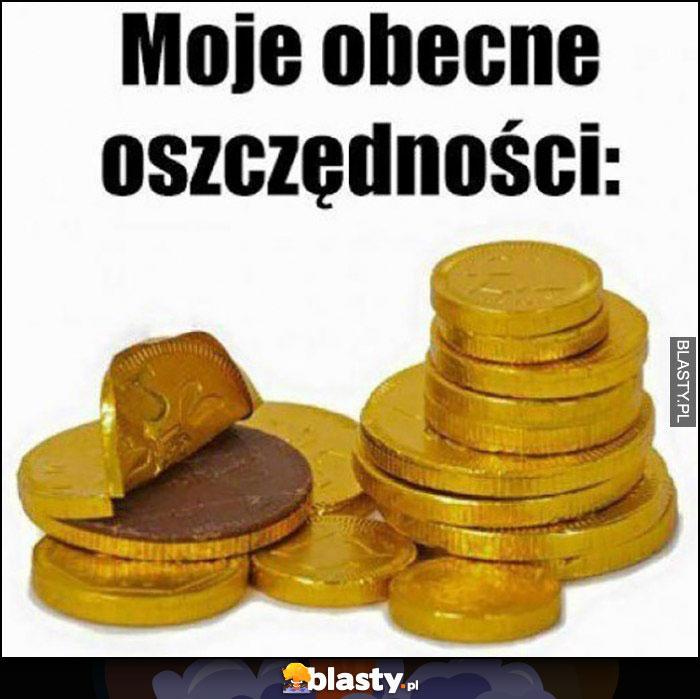 Moje obecne oszczędności czekoladowe monety pieniądze
