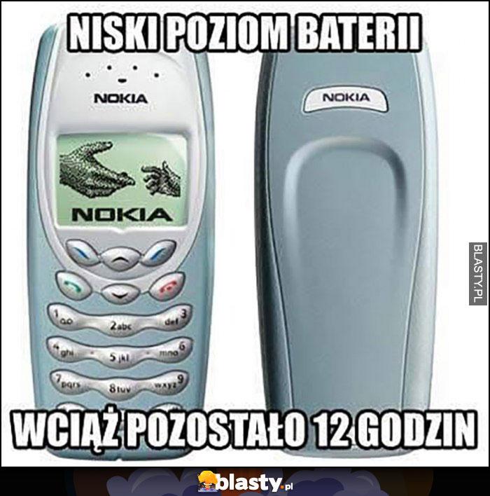 Niski poziom baterii, wciąż pozostało 12 godzin pracy stara Nokia 3410