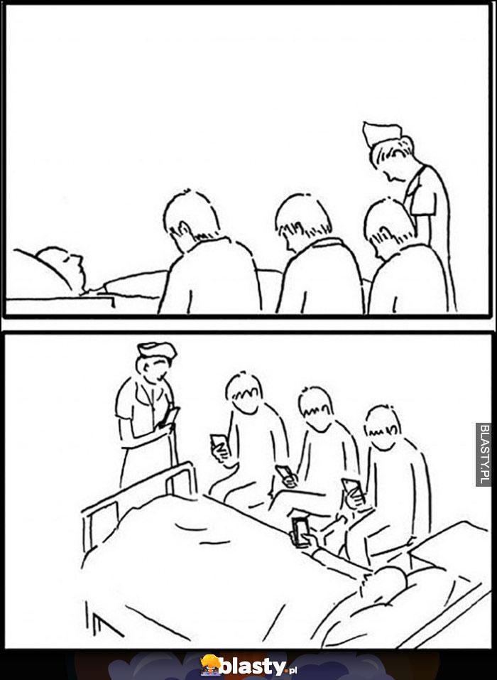 Rodzina siedzi nad łóżkiem umierającego, tak naprawdę wszyscy siedzą w telefonach