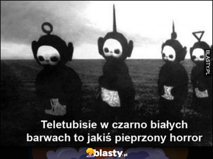Teletubisie w czarno-białych barwach to jakiś pieprzony horror