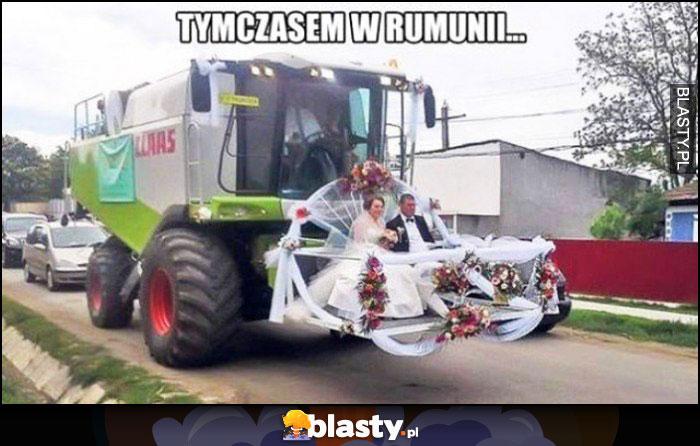 Tymczasem w Rumunii ślub para młoda jedzie ciągnikiem