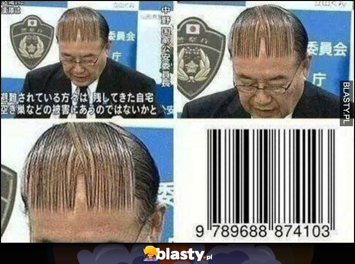Japończyk cienkie włosy na czole jak kod kreskowy zaczeska