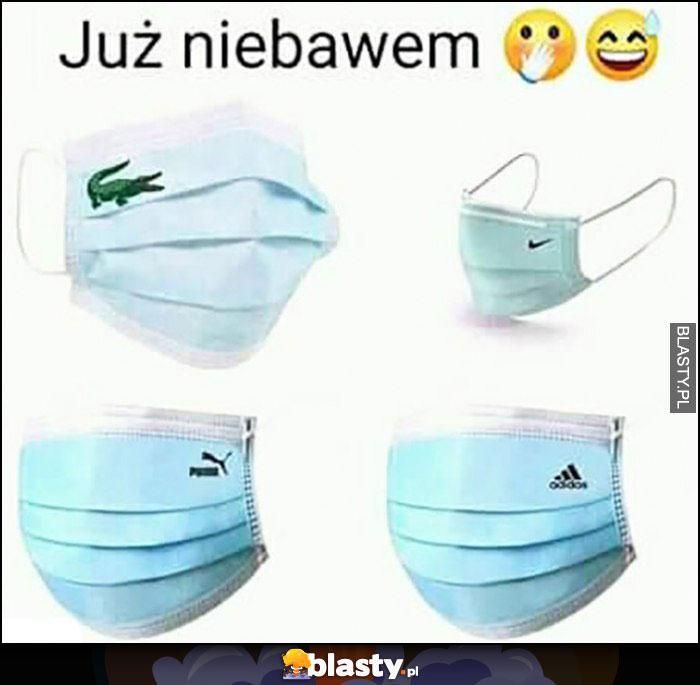 Już niebawem maski chirurgiczne przeciw korona wirus z logo lacoste nike puma adidas