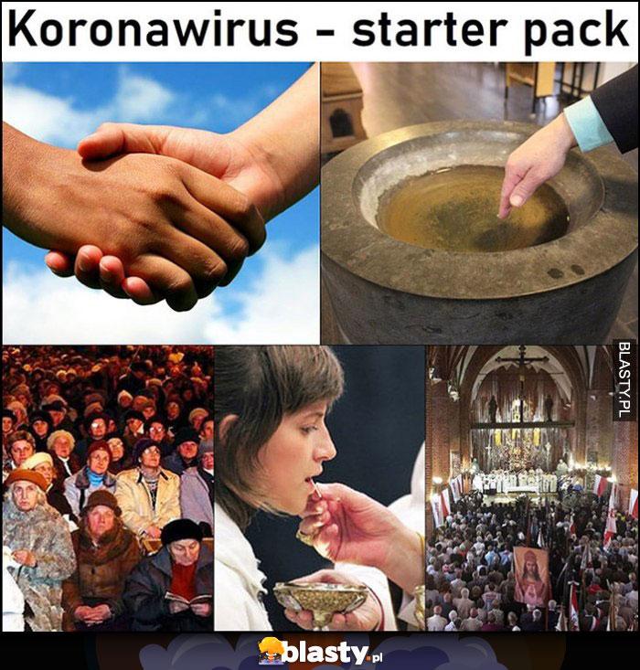 Koronawirus starter pack w kościele: komunia, znak pokoju, woda święcona, skupisko ludzi