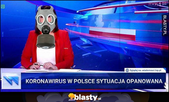 Koronawirus w Polsce sytuacja opanowana Wiadomości TVP prezenterka w masce gazowej