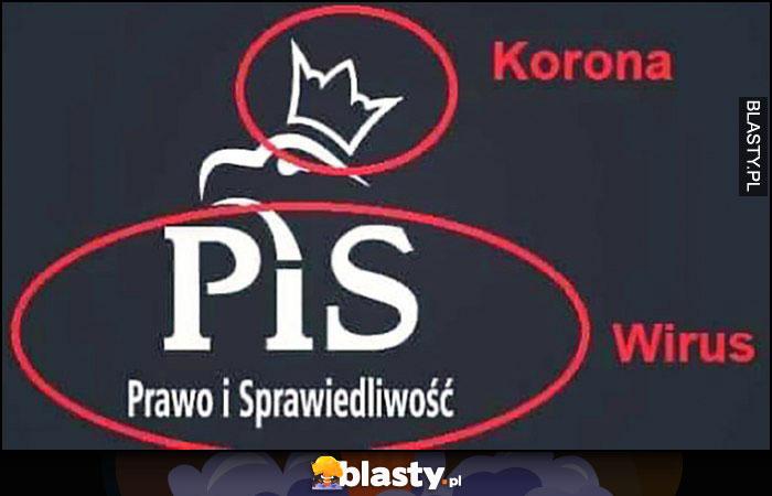 Logo PiS korona wirus - korona i wirus
