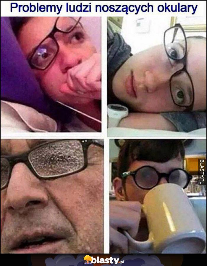 Problemy ludzi noszących okulary zaparowane, mokre, przekrzywione