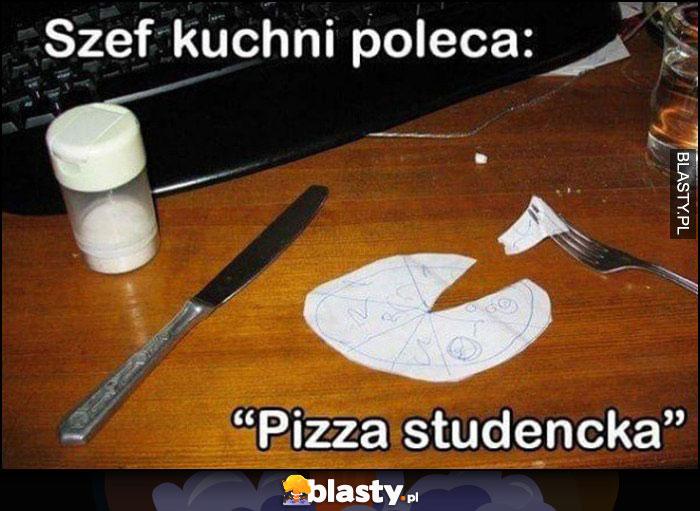 Szef kuchni poleca pizza studencka z papieru
