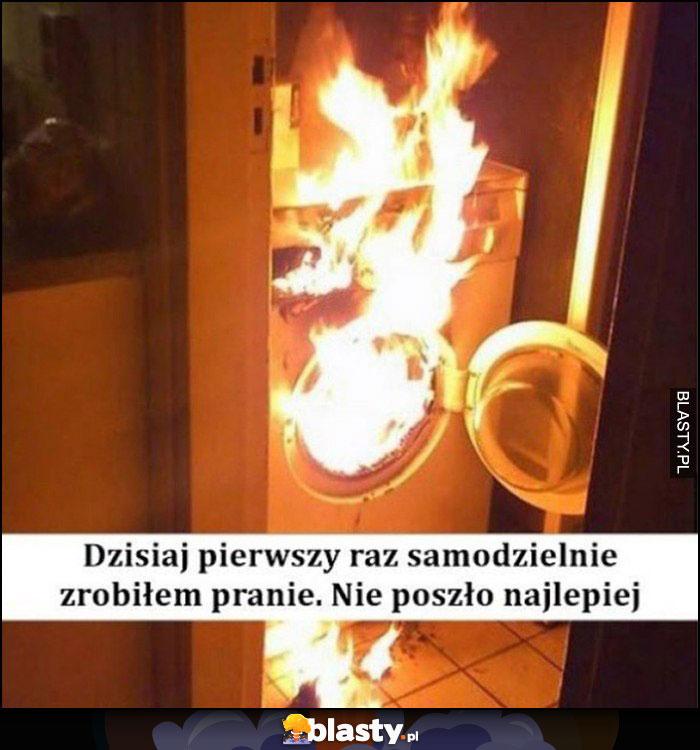 Dzisiaj pierwszy raz samodzielnie zrobiłem pranie, nie poszło najlepiej pożar