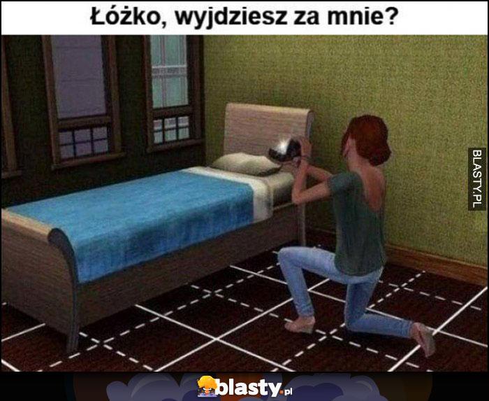 Łóżko wyjdziesz za mnie? Laska oświadcza się z pierścionkiem gra The Sims