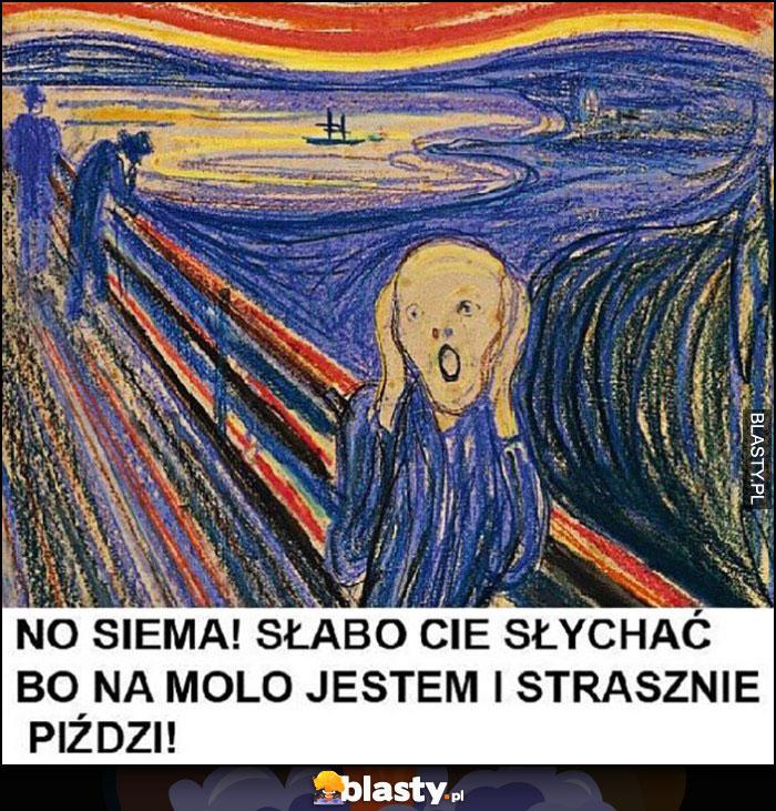 No siema! Słabo Cię słychać, bo na molo jestem i strasznie wieje obraz Krzyk Munch