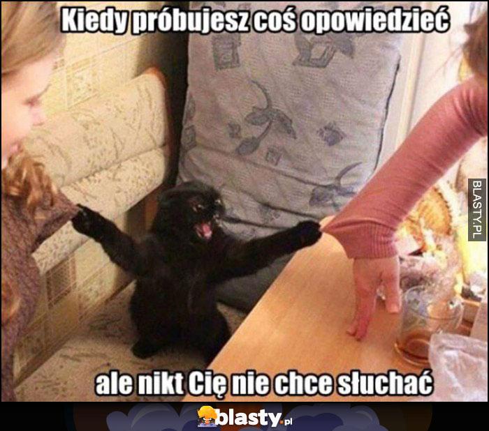 Zły wkurzony zdenerwowany kot kiedy próbujesz coś powiedzieć, ale nikt Cię nie chce słuchać