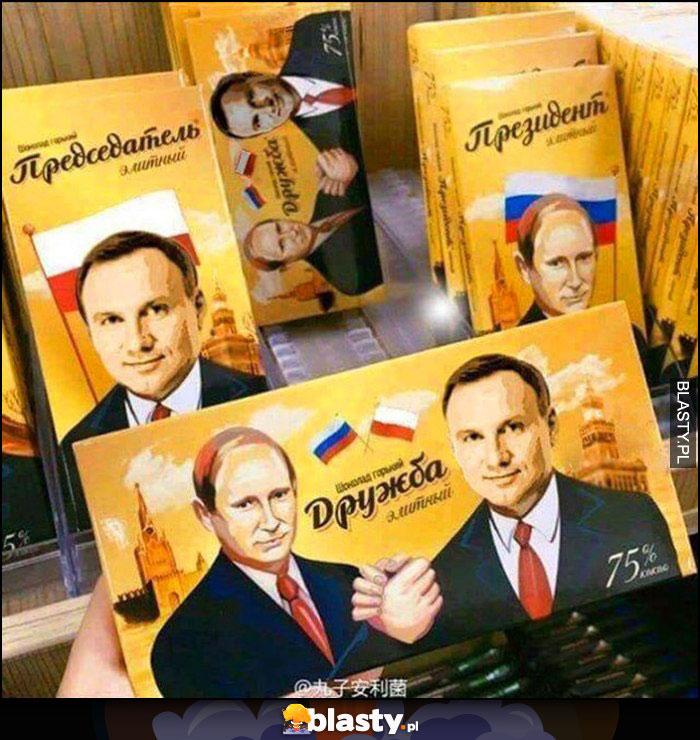 Andrzej Duda przybija piątkę z Putinem czekolada przyjaźń polsko-rosyjska
