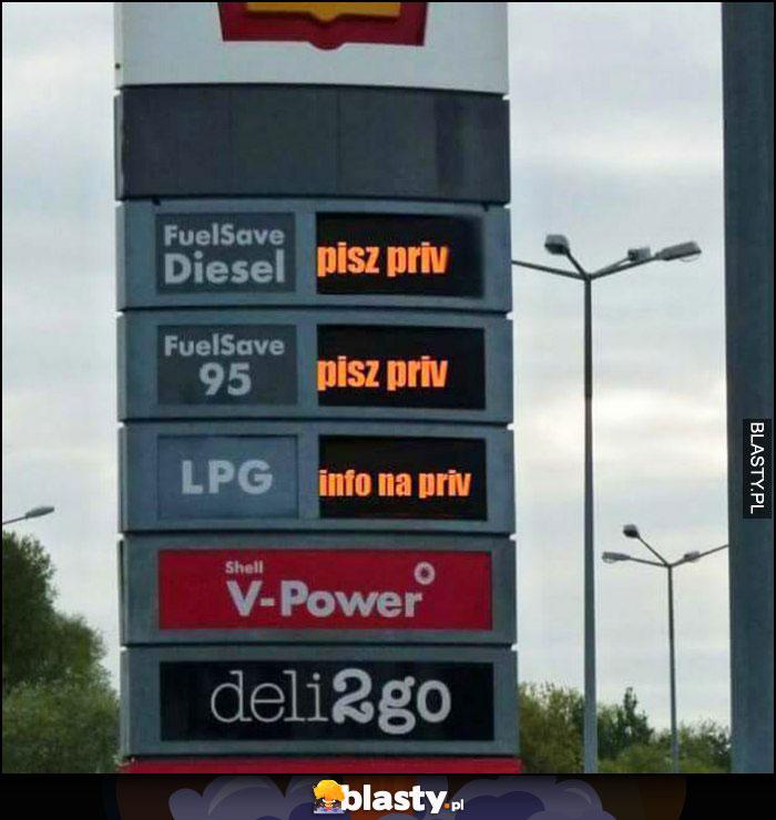 Ceny paliw pisz priv, info na priv stacja benzynowa