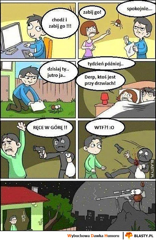 Pająk chodź i go zabij, uratował go, potem pająk ratuje jego przed złodziejem komiks