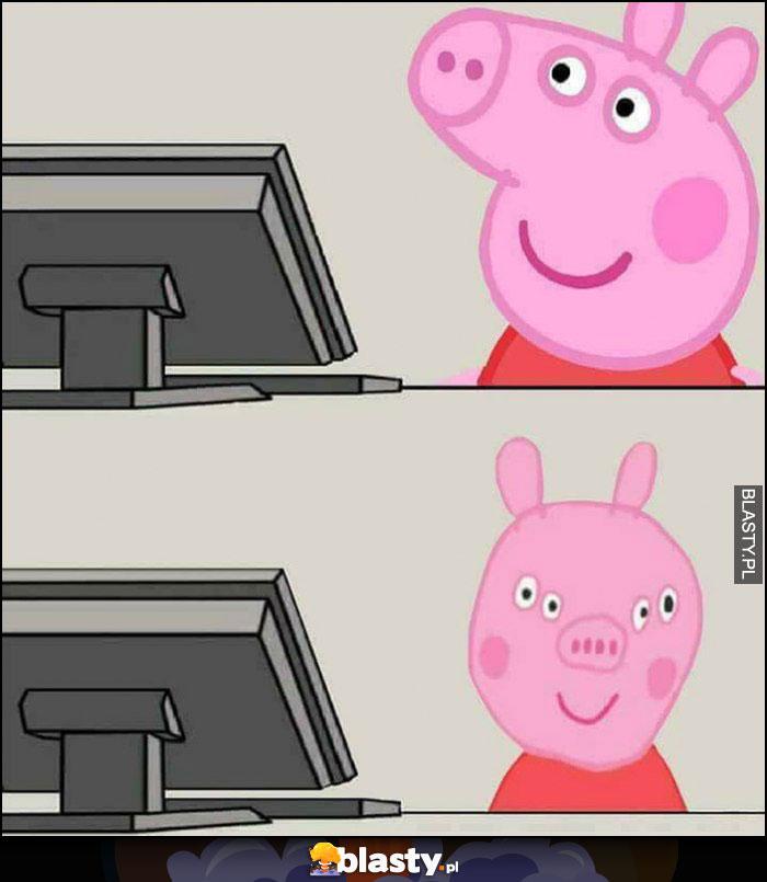 Świnka Pepa z profilu vs świnka Pepa od przodu