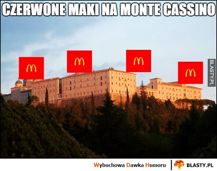 Czerwone maki na Monte Cassino dosłownie loga McDonalds