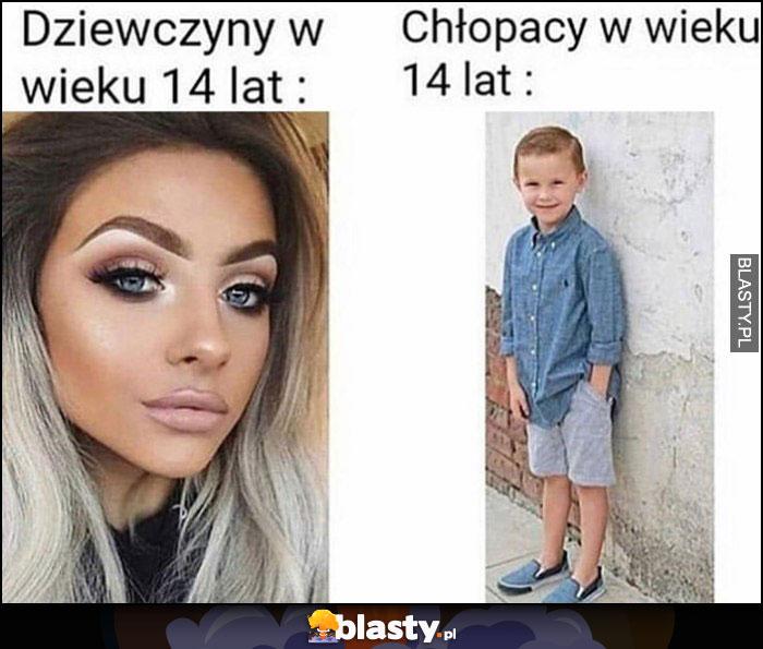 Dziewczyny w wieku 14 lat vs chłopacy w wieku 14 lat porównanie