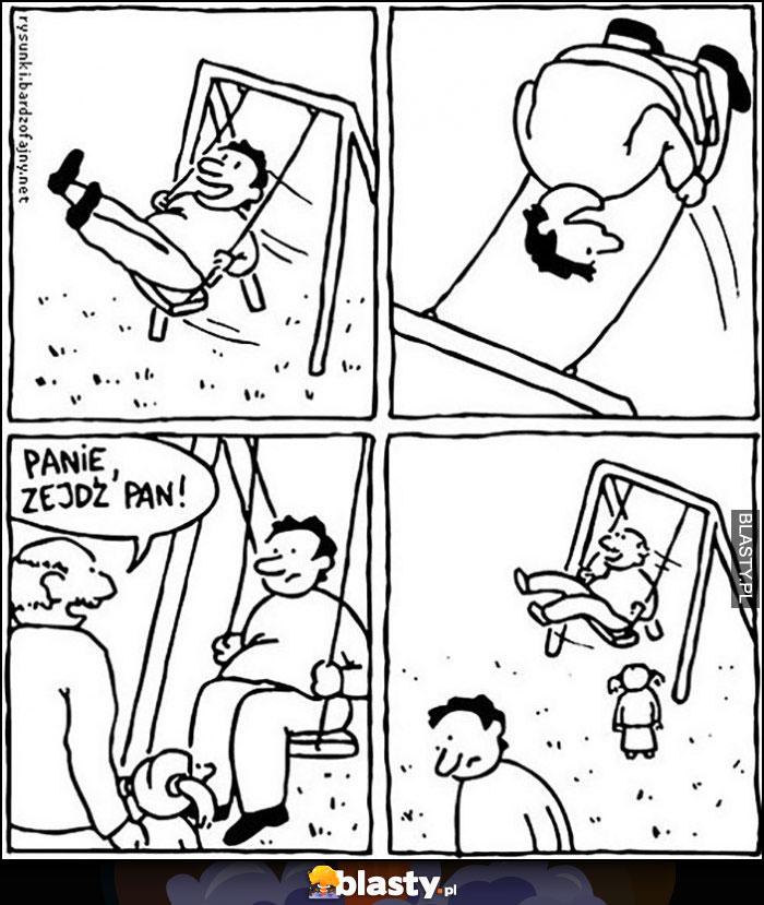 Facet na huśtawce, przychodzi gość z dzieckiem: panie zejdź pan i sam się buja zamist dziecka komiks