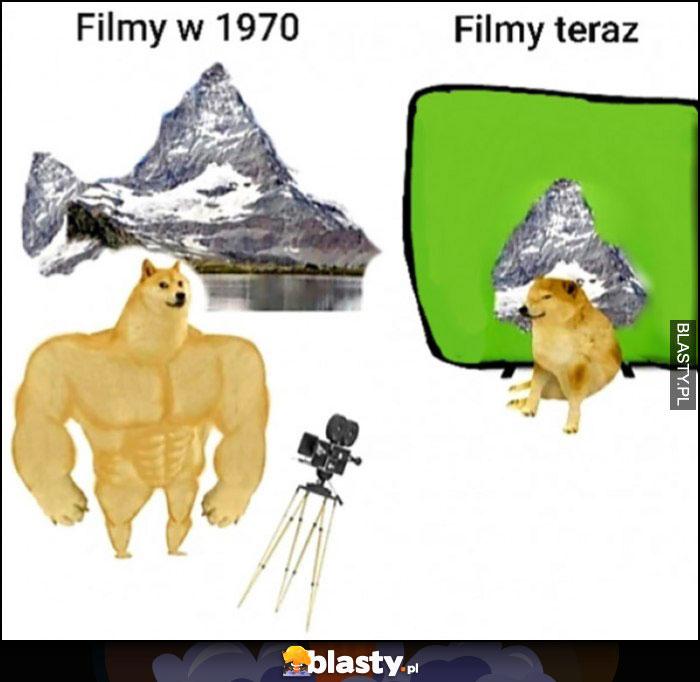 Filmy w 1970 góry, filmy teraz góry na bluescreenie