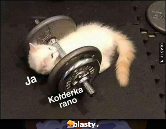Ja vs kołderka rano, kot leży przygnieciony sztangą