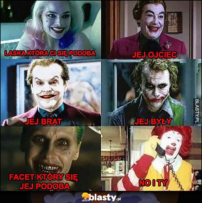Joker, laska która Ci się podoba, jej brat, ojciec, były, facet, no i Ty Ronald McDonald