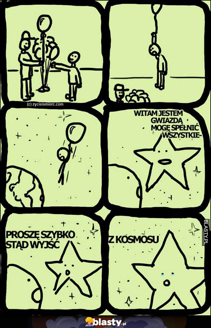 Komiks leci na balonie, witam jestem gwiazdą mogę spełnić życzenie, proszę szybko stąd wyjść, z kosmosu
