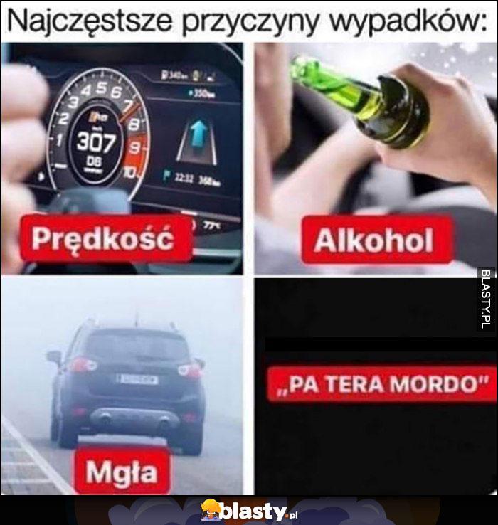 Najczęstsze przyczyny wypadków: prędkość, alkohol, mgła, pa tera mordo