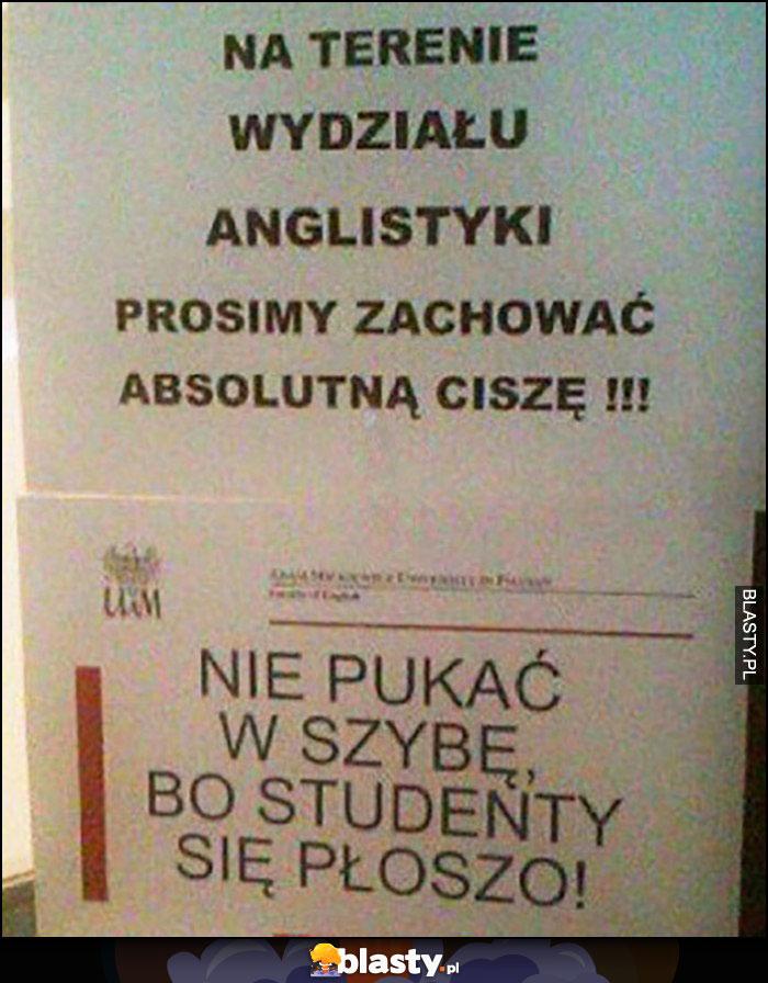 Nie pukać w szybę, bo studenty się płoszą kartka napis