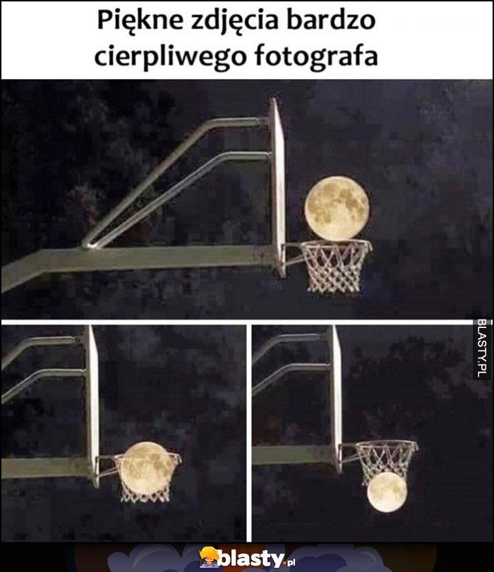 Piękne zdjęcie bardzo cierpliwego fotografa kosz koszykówka księżyc