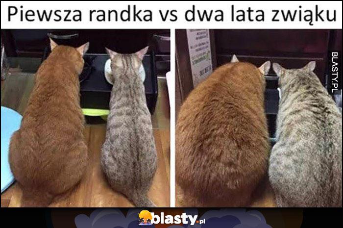 Pierwsza randka vs dwa lata związku grube koty