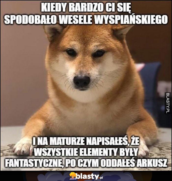 Pieseł pies kiedy bardzo Ci się spodobało wesele Wyspiańskiego i na maturze napisałeś, że wszystkie elementy były fantastyczne po czym oddałeś arkusz
