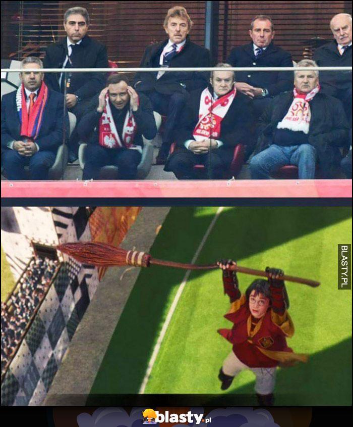 Prezydent duda czaruje myślami Harry Potter miotła mecz Quidditcha