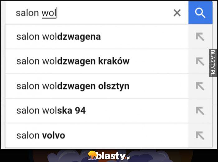 Salon Volkswagena w Google wpisują Woldzwagena
