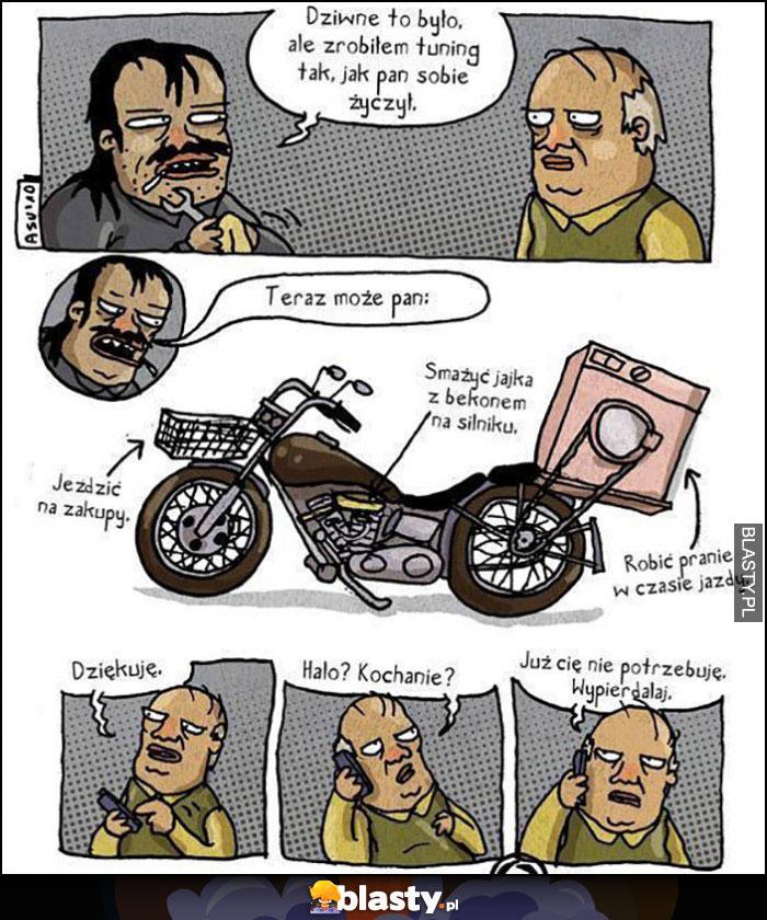 Tuning motocykla koszyk, pralka, patelnia, halo kochanie już Cię nie potrzebuję komiks