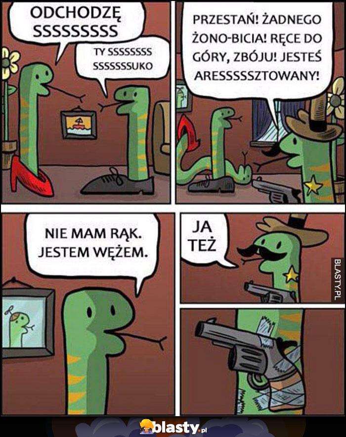 Wąż policjant szeryf: ręce do góry, nie mam rąk, jestem wężem, ja też