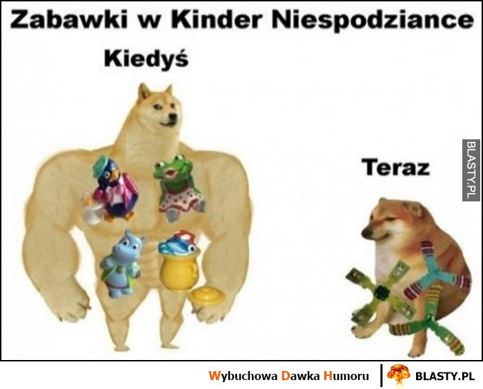 Zabawki w kinder niespodziance kiedyś i dziś teraz porównanie pies pieseł doge