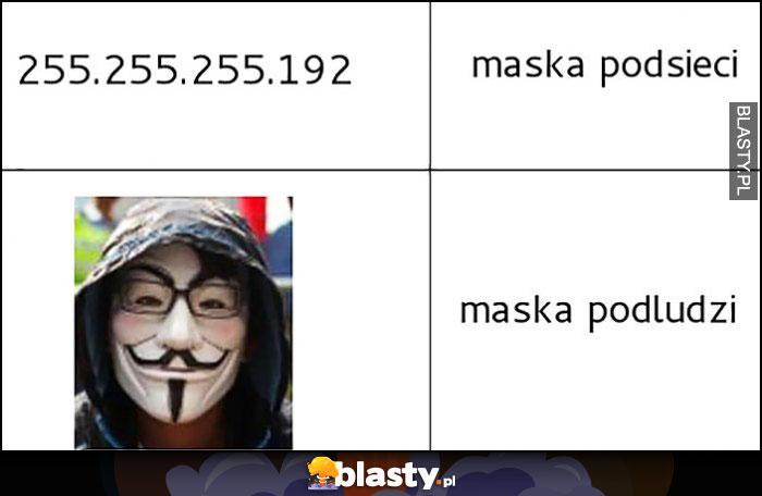 Adres IP maska podsieci, anonymous maska podludzi