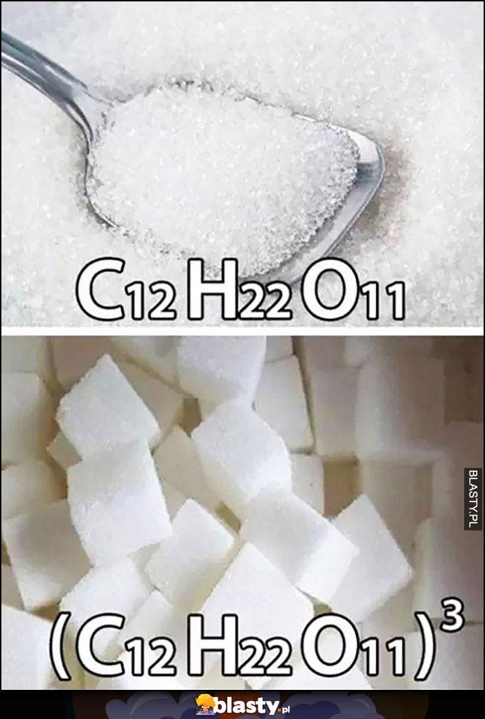 Cukier wzór chemiczny, cukier w kostkach ten sam wzór do sześcianu