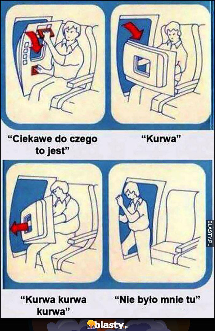 Drzwi awaryjne w samolocie, ciekawe do czego to jest, kurna, nie było mnie tu komiks